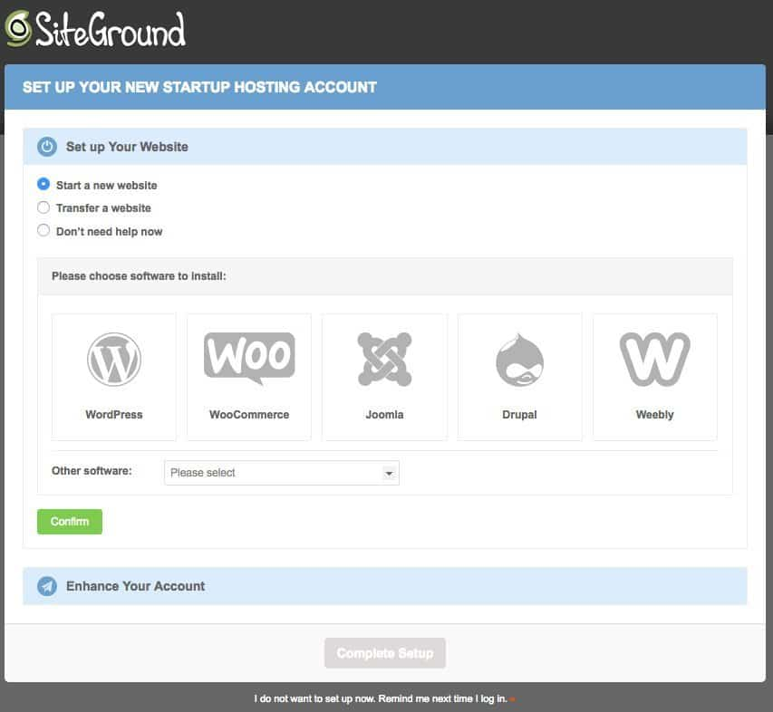 SiteGround free website transfer options or start a new website.