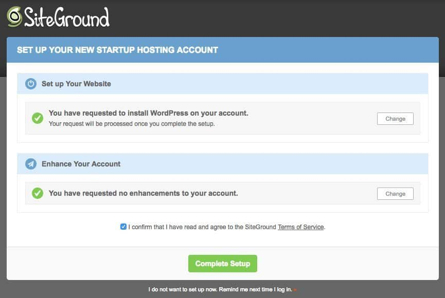 SiteGround confirm and setup enhancements.