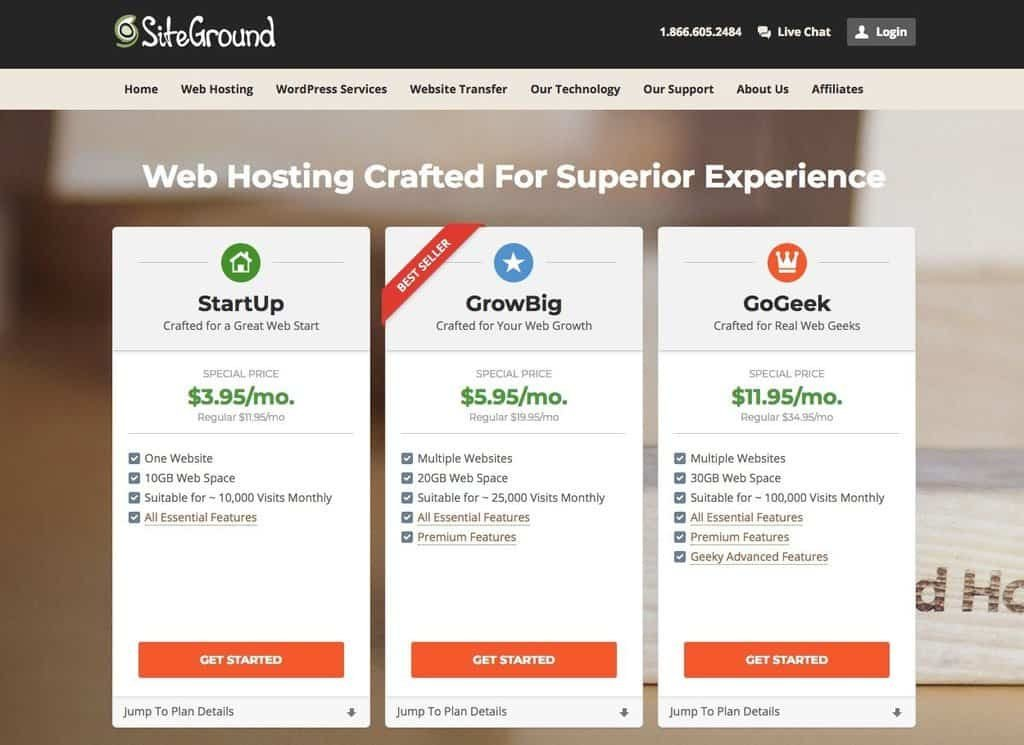 SiteGround web hosting 3 sign up plans StartUp, GrowBig and GoGeek. With Price Comparison.