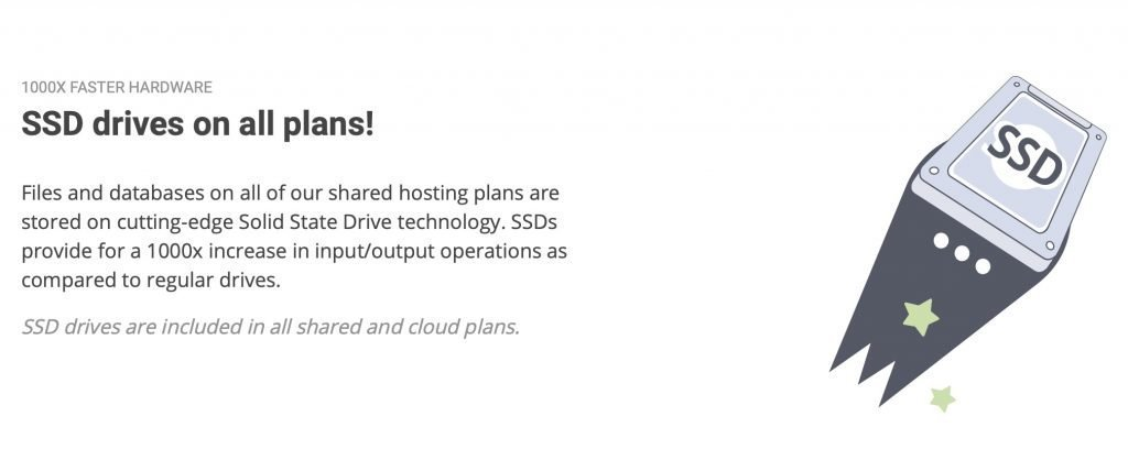 SSD drives on all plans SiteGround
